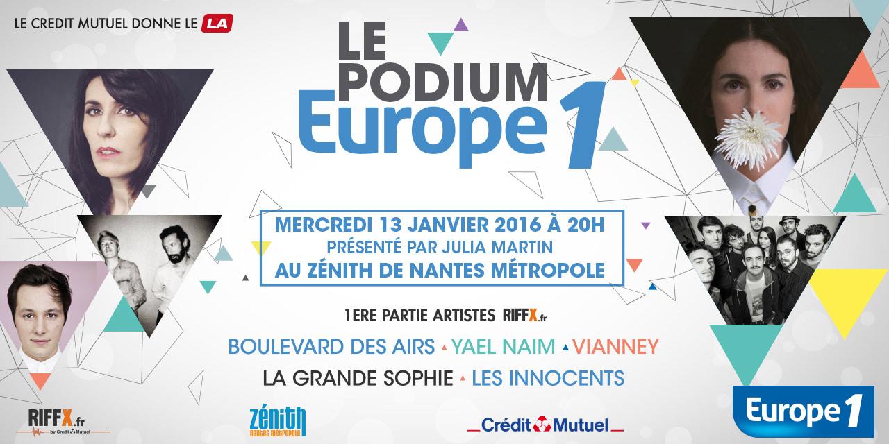 Affiche podium Europe 1 à Nantes